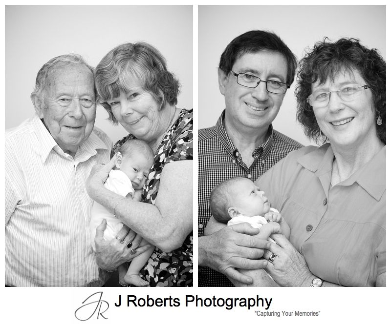 Grandparents portraits with baby girl - sydney baby portrait photography